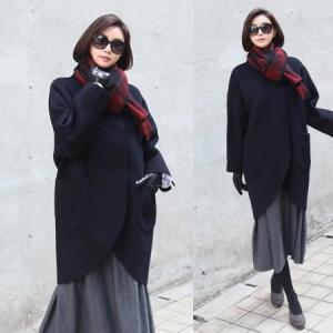 秋新作 コート ノーカラーコート ウール ハーフ丈 50代 40代 ファッション 女性 レディース|alice-style