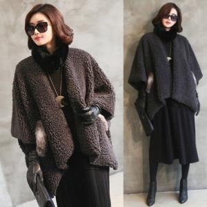 コート レディース ハーフ丈 フォックスファー 50代 40代 60代 ファッション 女性 黒 alice-style
