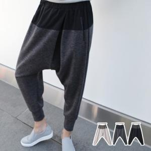 バンディングジョガーパンツ レディース 40代 50代 60代 ファッション おしゃれ 女性 上品 黒 ベージュ 切替 冬 ミセス|alice-style
