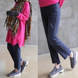 パンツ レディース 40代 50代 60代 ファッション おしゃれ 女性 上品  黒 無地 ダメージ裾 オーバル デニムパンツ 冬 ミセス alice-style