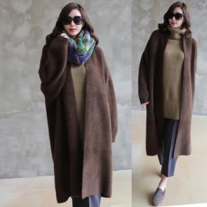 コート レディース ロング丈 フェイクファー ロングコート 秋冬 50代 40代 60代 ファッション 女性 ネイビー alice-style