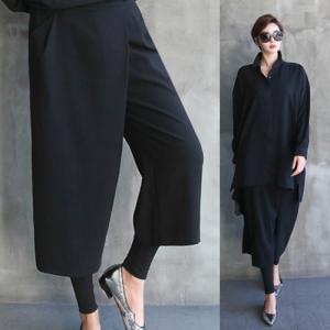 パンツ レディース 大人 レギンスレイヤー ゆったり 2018 秋冬 冬 50代 40代 ファッション 女性 黒 茶色 グレー alice-style