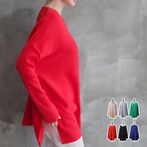 ニット ラウンド レディース 40代 50代 60代 ファッション おしゃれ 女性 上品 黒 赤 ルーズフィット ニット無地 長袖 冬 ミセス alice-style