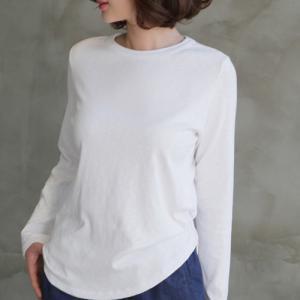 Tシャツ レディース レディース トップス 無地 長袖  秋冬 40代 50代 60代 ファッション 女性 上品 ミセス 黒 白 ベージュ|alice-style