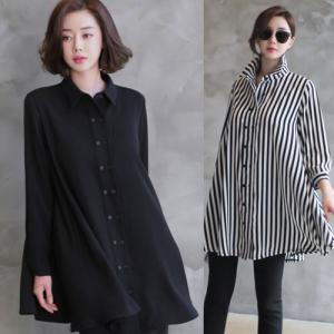 シャツ レディース レディース ブラウス 無地 ストライプ 七分袖  40代 50代 60代 ファッション 女性 上品 ミセス 黒|alice-style