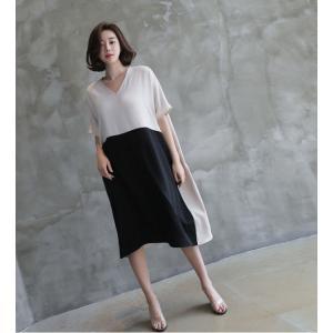 ワンピース レディース バイカラー ドルマン ゆったり 2018 春 50代 40代 60代 ファッション 女性 ベージュ|alice-style|12