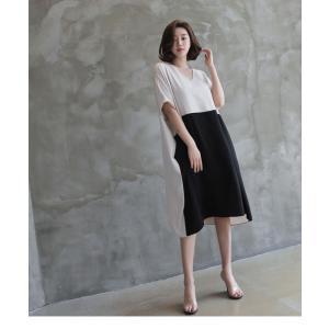 ワンピース レディース バイカラー ドルマン ゆったり 2018 春 50代 40代 60代 ファッション 女性 ベージュ|alice-style|16