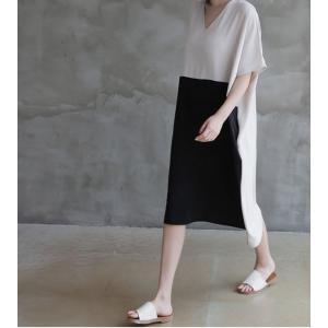 ワンピース レディース バイカラー ドルマン ゆったり 2018 春 50代 40代 60代 ファッション 女性 ベージュ|alice-style|17