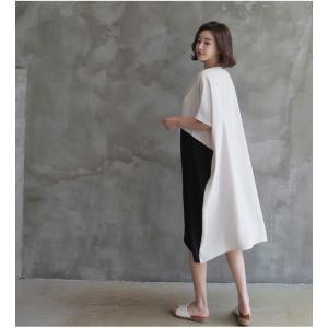 ワンピース レディース バイカラー ドルマン ゆったり 2018 春 50代 40代 60代 ファッション 女性 ベージュ|alice-style|04