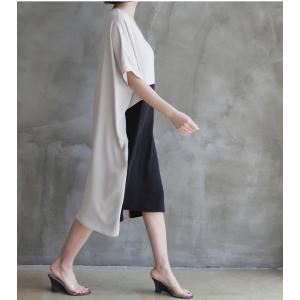 ワンピース レディース バイカラー ドルマン ゆったり 2018 春 50代 40代 60代 ファッション 女性 ベージュ|alice-style|06