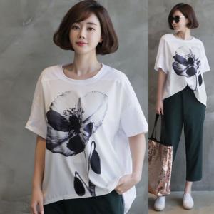 トップス カットソー レディース Tシャツ ゆったり 体形カバー プリント 2018 夏 50代 40代 60代 ファッション 女性 白 ネイビー |alice-style