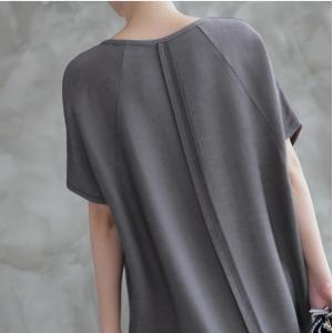 ワンピース レディース 無地 半袖 膝丈 きれいめ 通勤 50代 40代 60代 ファッション 女性 上品 ミセス 黒 グレー alice-style 03