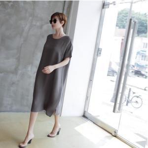 ワンピース レディース 無地 半袖 膝丈 きれいめ 通勤 50代 40代 60代 ファッション 女性 上品 ミセス 黒 グレー alice-style 04
