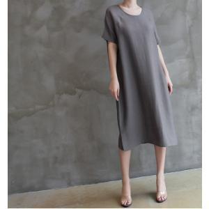 ワンピース レディース 無地 半袖 膝丈 きれいめ 通勤 50代 40代 60代 ファッション 女性 上品 ミセス 黒 グレー alice-style 05