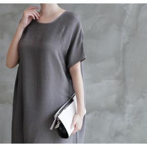 ワンピース レディース 無地 半袖 膝丈 きれいめ 通勤 50代 40代 60代 ファッション 女性 上品 ミセス 黒 グレー alice-style 07