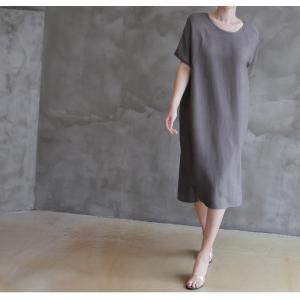 ワンピース レディース 無地 半袖 膝丈 きれいめ 通勤 50代 40代 60代 ファッション 女性 上品 ミセス 黒 グレー alice-style 08