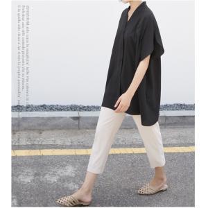 ブラウス レディース 40代 50代 60代 ファッション 女性 上品  黒  ベージュ Vネック 無地 半袖 きれいめ 春夏 ミセス alice-style 11