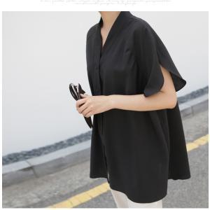 ブラウス レディース 40代 50代 60代 ファッション 女性 上品  黒  ベージュ Vネック 無地 半袖 きれいめ 春夏 ミセス alice-style 13
