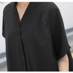 ブラウス レディース 40代 50代 60代 ファッション 女性 上品  黒  ベージュ Vネック 無地 半袖 きれいめ 春夏 ミセス alice-style 15