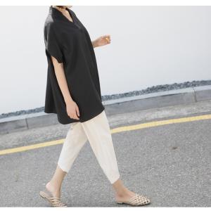 ブラウス レディース 40代 50代 60代 ファッション 女性 上品  黒  ベージュ Vネック 無地 半袖 きれいめ 春夏 ミセス alice-style 17