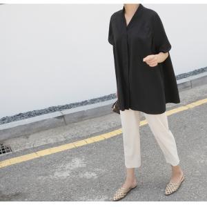 ブラウス レディース 40代 50代 60代 ファッション 女性 上品  黒  ベージュ Vネック 無地 半袖 きれいめ 春夏 ミセス alice-style 18