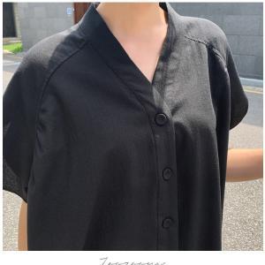 ブラウス レディース 40代 50代 60代 ファッション 女性 上品  黒  ベージュ Vネック 無地 半袖 きれいめ 春夏 ミセス alice-style 03