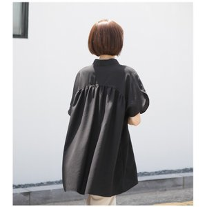 ブラウス レディース 40代 50代 60代 ファッション 女性 上品  黒  ベージュ Vネック 無地 半袖 きれいめ 春夏 ミセス alice-style 05