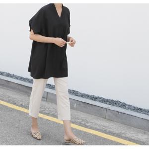 ブラウス レディース 40代 50代 60代 ファッション 女性 上品  黒  ベージュ Vネック 無地 半袖 きれいめ 春夏 ミセス alice-style 06