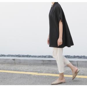 ブラウス レディース 40代 50代 60代 ファッション 女性 上品  黒  ベージュ Vネック 無地 半袖 きれいめ 春夏 ミセス alice-style 07