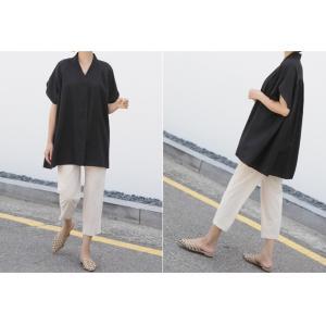 ブラウス レディース 40代 50代 60代 ファッション 女性 上品  黒  ベージュ Vネック 無地 半袖 きれいめ 春夏 ミセス alice-style 08