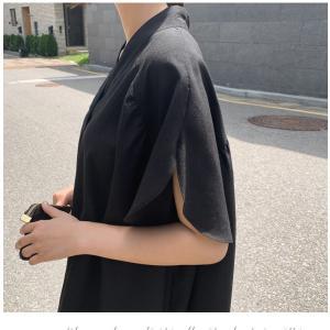 ブラウス レディース 40代 50代 60代 ファッション 女性 上品  黒  ベージュ Vネック 無地 半袖 きれいめ 春夏 ミセス alice-style 09