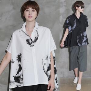 ブラウス レディース 柄 半袖 シャツ ゆったり 体形カバー きれいめ 2018 夏 50代 40代 60代 ファッション 女性 黒 グレー|alice-style