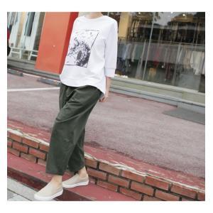 パンツ レディース 大人 ロングパンツ 2018 秋冬 冬 50代 40代 ファッション 女性 カーキ 緑|alice-style|17