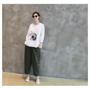 パンツ レディース 大人 ロングパンツ 2018 秋冬 冬 50代 40代 ファッション 女性 カーキ 緑|alice-style|20