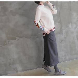 スカート レディース 大人 ロング丈 無地 2018 秋冬 冬 50代 40代 ファッション 女性 ベージュ グレー|alice-style|04