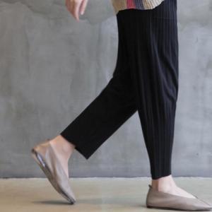 レーヨン レディース 40代 50代 60代 ファッション おしゃれ 女性 上品 黒 しわ ニット プリーツ パンツ 無地 冬 ミセス|alice-style