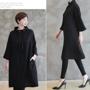 ワンピース ハイネック レディース 40代 50代 60代 ファッション おしゃれ 女性 上品 黒 ワンピース 無地 八分袖 冬 ミセス|alice-style