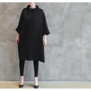 ワンピース レディース 40代 50代 60代 ファッション 女性 上品 ミセス 黒 春夏 大きいサイズ 体型カバー 高級感 きれいめ|alice-style|11