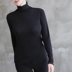 トップス レディース レディース 無地 Tシャツ 長袖 ハイネック 秋冬 40代 50代 60代 ファッション 女性 上品 ミセス 黒 グレー|alice-style