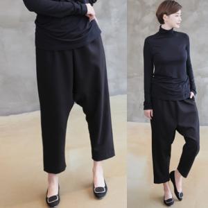 パンツ レディース 大人 40代 50代 60代 ファッション 女性 上品 黒サルエルパンツ 春 ミセス alice-style