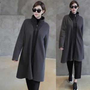 フリース レディース 大人 ジップアップ ハイネック 2018 秋冬 冬 50代 40代 ファッション 女性 グレー|alice-style