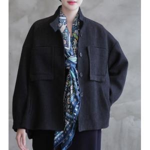 ジャケット レディース 大人 ゆったり ビッグシルエット ウール 2018 秋冬 冬 50代 40代 ファッション 女性 黒|alice-style