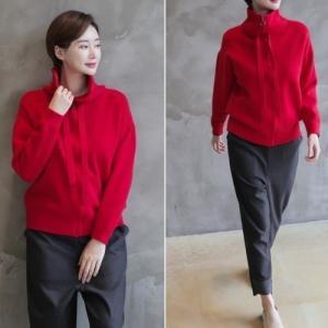 ニットジップアップ トップス レディース 40代 50代 60代 ファッション おしゃれ 女性 上品 黒 赤 ベージュ グレー ハイネック 無地 ウール 冬 ミセス alice-style