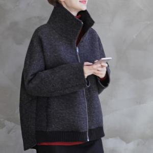 ジャケット レディース 40代 50代 60代 ファッション おしゃれ 女性 上品  黒 ハーフ丈 ジップアップ 秋 ミセス alice-style