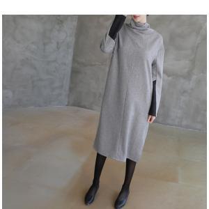 50代ワンピース 上品 レディース レディース タートルネック ウール混 膝丈 長袖 秋冬 40代 50代 60代 ファッション 女性 ミセス グレー|alice-style|11