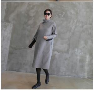 50代ワンピース 上品 レディース レディース タートルネック ウール混 膝丈 長袖 秋冬 40代 50代 60代 ファッション 女性 ミセス グレー|alice-style|08