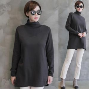 Tシャツ レディース レディース 無地 タートルネック 長袖 トップス 秋冬 40代 50代 60代 ファッション 女性 上品 ミセス 黒 グレー|alice-style