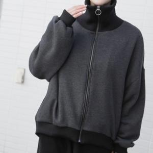 ジャケット レディース 大人 ハーフ丈 ジップアップ 2018 秋冬 冬 50代 40代 ファッション 女性 黒 alice-style
