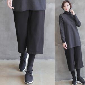 ワイドパンツ ルック レディース 大人 レギンスレイヤー 秋冬 40代 50代 60代 ファッション 女性 上品 ミセス alice-style