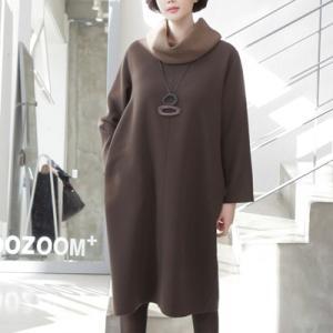 ワンピース レディース 40代 50代 60代 ファッション 女性 上品  黒 茶色タートルネック 膝丈 きれいめ 長袖 冬 ミセス alice-style